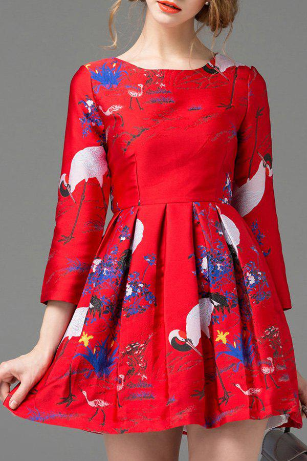 Sale Round Neck Jacquard Fit and Flare Dress