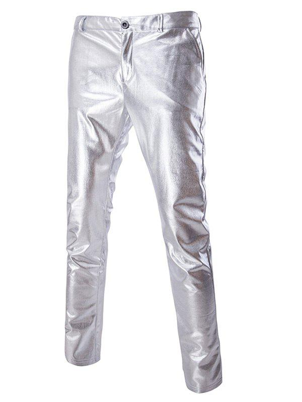 Zipper Fly Solid Color Metallic Pants For MenMEN<br><br>Size: M; Color: SILVER; Style: Casual; Pant Style: Pencil Pants; Pant Length: Long Pants; Material: Polyester; Fit Type: Regular; Front Style: Flat; Closure Type: Zipper Fly; Waist Type: Mid; Weight: 0.210kg; Package Contents: 1 x Pants;
