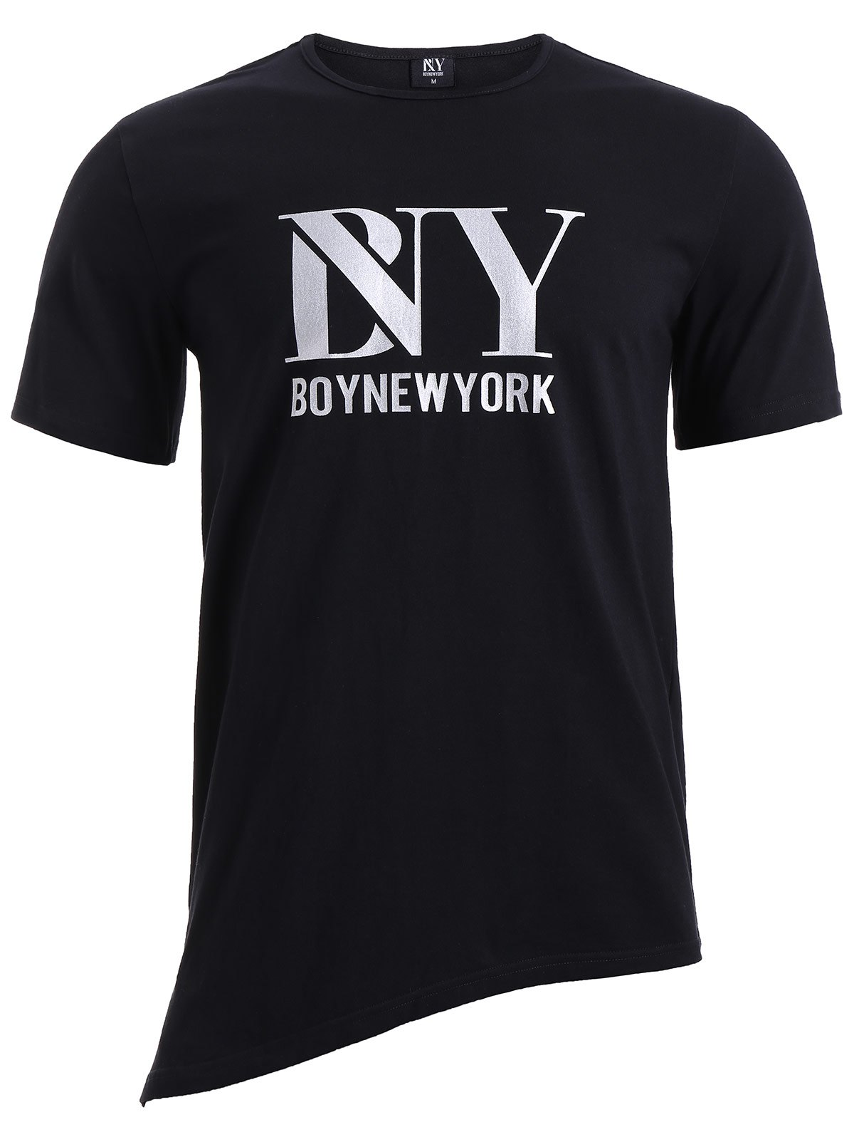 Shop BoyNewYork Asymmetric Hem Short Sleeves T-Shirt