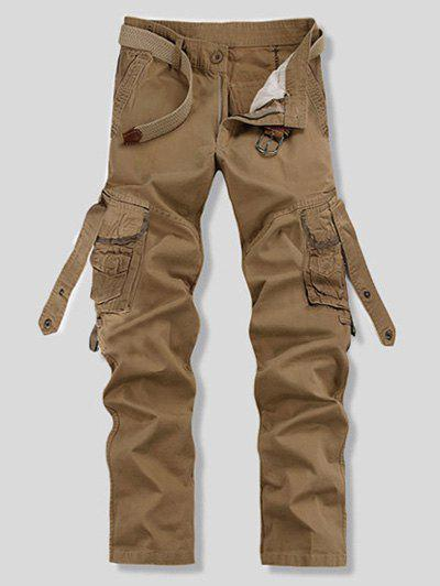 Comaba Men Multi Pockets Solid Trim-Fit Straight Plus-Size Cargo Work Pants