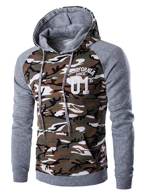 Cheap Kangaroo Pocket Camo Long Sleeve Hoodie For Men