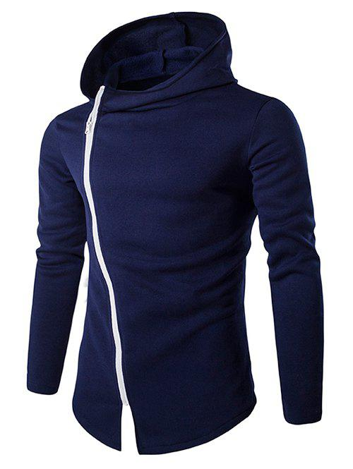 New Stylish Diagonal Zipper Design Long Sleeve Hoodies For Men