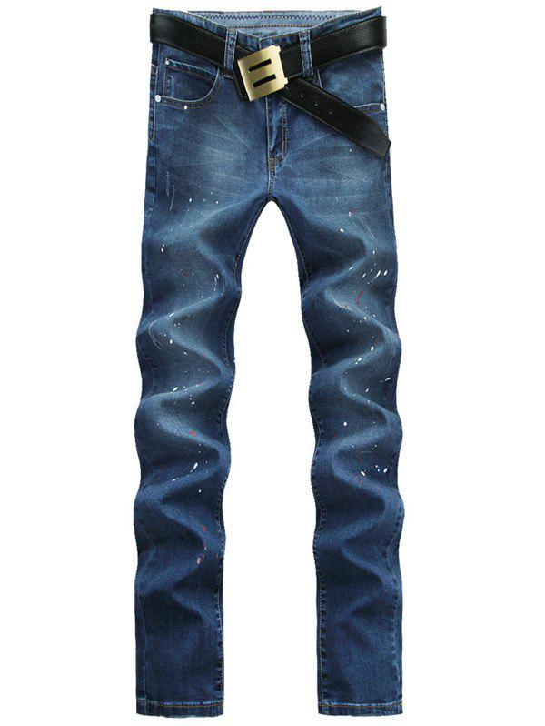 Store Skull Pattern Spray Lacquer Print Straight Leg Jeans For Men