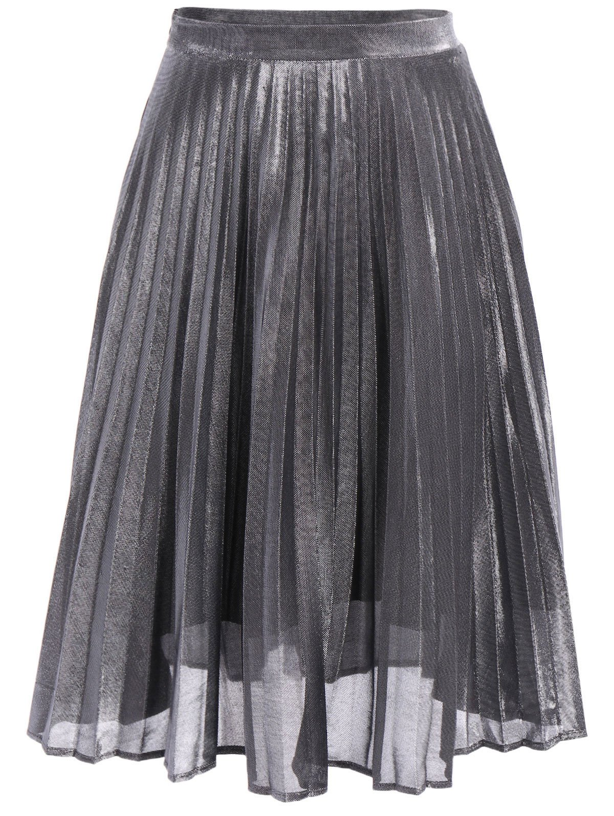 Outfits Metallic Pleated Midi Skirt