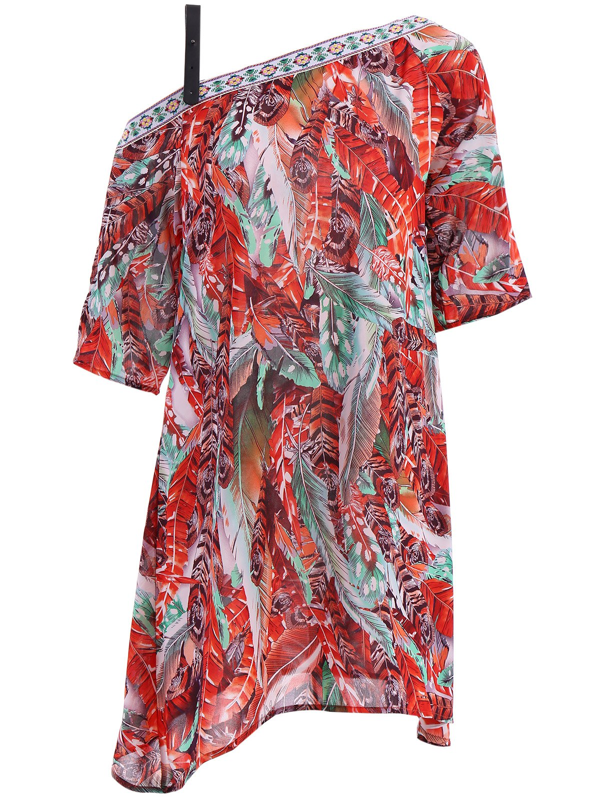 Buy Bohemian Off The Shoulder Feather Print Half Sleeve Dress For Women