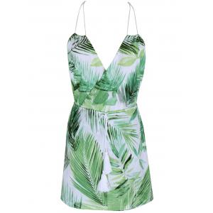 Tropical Halter Neck Leaf Romper For Women