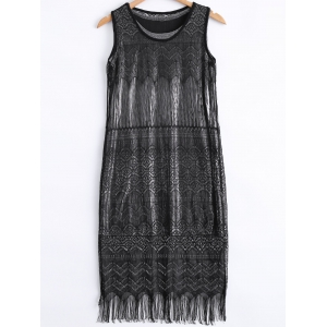 Stylish Scoop Neck Lace Fringe Tank Dress and Metallic Color Tank Dress Set For Women