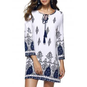 Casual Printed Shift Boho Tunic Dress - White - 2xl
