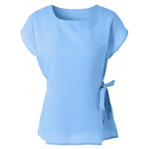 Cap Sleeve Candy Color Slimming Blouse - Light Blue - M