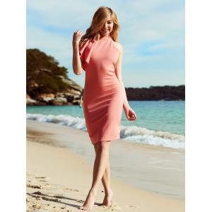 Alluring Ruffled One-Shoulder Knee Length Club Dress