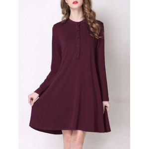 Trendy Stand Collar Button Design Pure Color Women's Dress