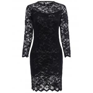 Lace Tight Homecoming Dress with Sleeves - Black - S