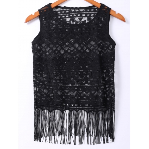 Scoop Neck Tassel Embellished Women's Lace Tank Top