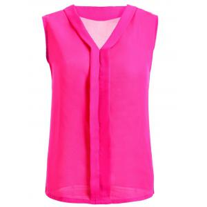 V-Neck Solid Color Women's Chiffon Tank Top - Rose Red - 2xl
