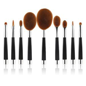Stylish 9 Pcs Multifunction Golf Clubs Shape Nylon Makeup Brushes Set - Silver