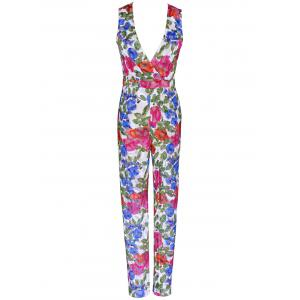 Plunging Neck Colorful Printed Sleeveless Jumpsuit