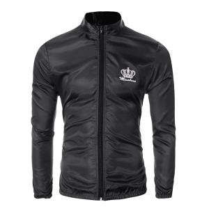 Crown Print Zip Up Elastic Cuff Stand Collar Jacket For Men