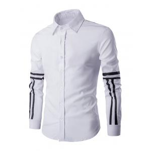 Simple Shirt Collar Stripes Pattern Long Sleeves Shirt For Men