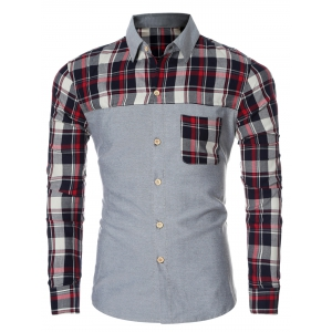 Plaid Splicing Breasted Pocket Long Sleeve Shirt For Men - Red - M