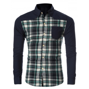 Checked Spliced Breasted Pocket Long Sleeve Shirt For Men - Green - M