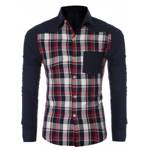 Checked Spliced Breasted Pocket Long Sleeve Shirt For Men - Red - 2xl