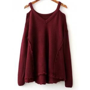 Cold Shoulder Ripped Sweater