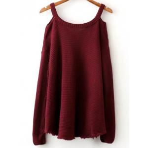 Cold Shoulder Ripped Sweater -