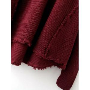 Cold Shoulder Ripped Sweater - WINE RED ONE SIZE