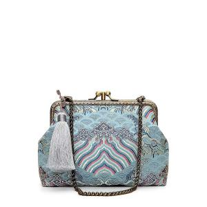 Hasp Tassel Brocade Vintage Day Clutches