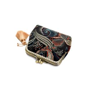 Butterfly Pattern Brocade Kiss Lock Coin Purse - BLACK