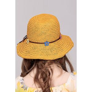 Flower Lace Up Embellished Straw Hat - GINGER