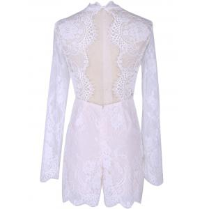 Long Sleeve Lace Splicing Round Neck Romper - WHITE XL
