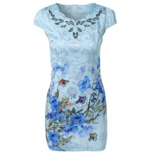 Cheong-Sam Wave Cut Foral Dress -