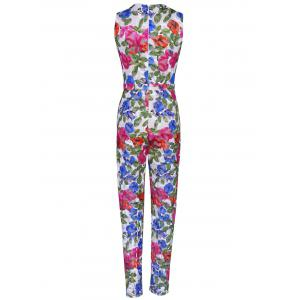 Plunging Neck Colorful Printed Sleeveless Jumpsuit - COLORMIX XL
