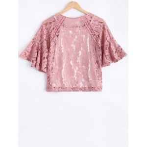 Sweet Solid Color Scoop Neck Lace Bell Sleeves Blouse and Spaghetti Strap Tank Top Twinset For Women -