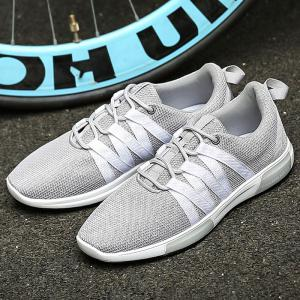 Trendy Colour Splicing and Lace Up Design Athletic Shoes For Men -