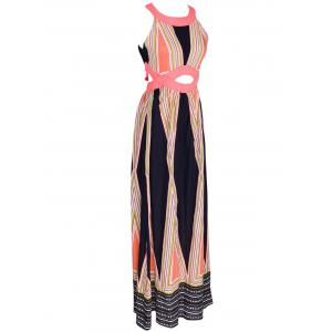 Attractive Women's Hollow Out Printed Maxi Dress -
