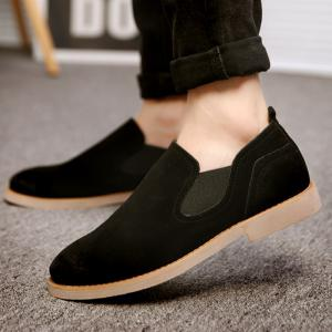 Simple Suede and Elastic Band Design Casual Shoes For Men -