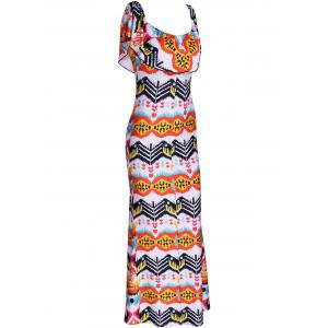 Attractive Overlay Printed Skinny Dress For Women - COLORMIX S
