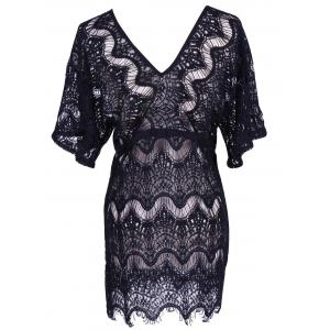 Alluring Laciness Hollow Out Dress For Women - BLACK XL