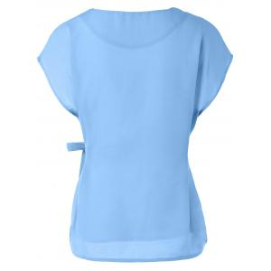 Cap Sleeve Candy Color Slimming Blouse - LIGHT BLUE M