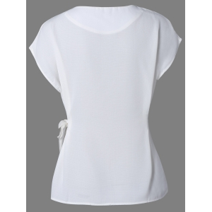 Cap Sleeve Candy Color Slimming Blouse -