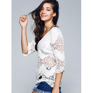 3/4 Sleeve Plunging Neck Crocheted Blouse -