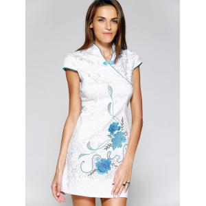 Chinoiserie Jacquard Floral Mini Dress For Women -