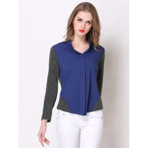 Chic Long Sleeve Hit Color Spliced Women's Shirt - PURPLISH BLUE XL
