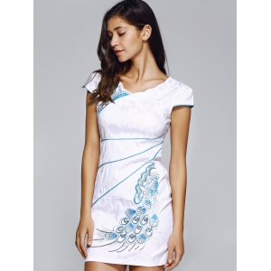 Chinoiserie Embroidered Jacquard Dress For Women -