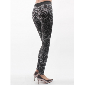 Printed Knitted Leggings For Women - BLACK ONE SIZE