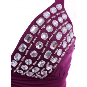 Vintage Plunging Neck Backless Rhinestone Long Prom Dress For Women -