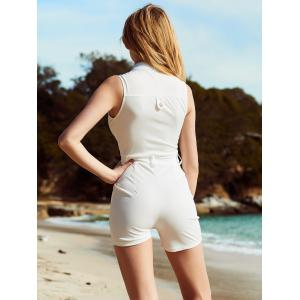 Trendy Sleeveless Buttoned Pocket Design Women's Romper -