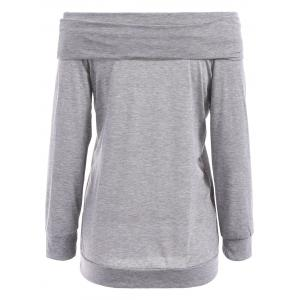Sexy Off The Shoulder Solid Color Long Sleeve Sweatshirt For Women - GRAY S